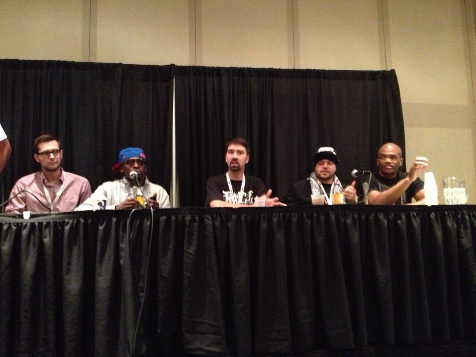 Kagan McLeod, Pete Rock, little old me, DJ Johnny Juice and DMC at a previous panel in NYC.