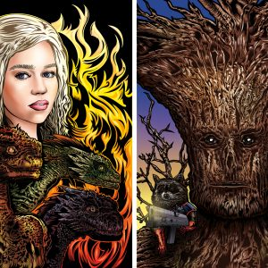 """Mother of Dragons"" and ""Groot and Rocket"" 2014 Limited Edition Prints by Adam Wallenta"