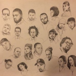 "JJ Brown ""Connect the Dots"" Original Interior Art Portraits. Original Pencil Drawings by Adam Wallenta."