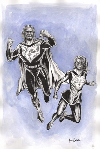 Custom Super Hero Commission Portrait by Adam Wallenta
