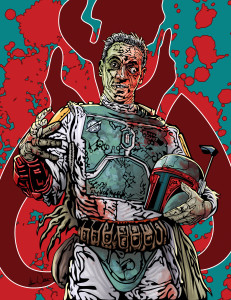 Zombie Fett by Adam Wallenta. This was created for the 2nd Annual ComiCONN Program Guide.