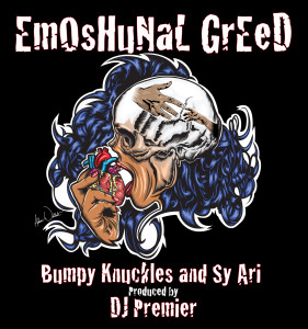 EmOsHuNaL GrEeD album art Illustration and design by Adam Wallenta